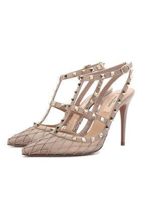 Женские кожаные туфли rockstud VALENTINO бежевого цвета, арт. VW0S0393/JNM   Фото 1