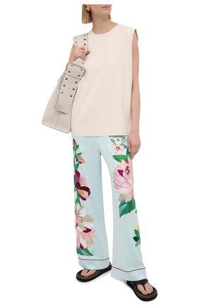 Женская шелковые брюки DOLCE & GABBANA голубого цвета, арт. FTBQ8Z/G7VSP | Фото 2