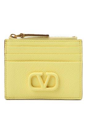 Женский кожаный футляр для кредитных карт VALENTINO желтого цвета, арт. VW0P0U20/RQR | Фото 1