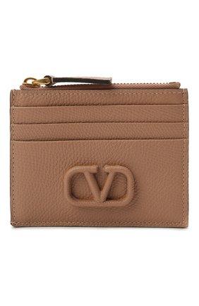 Женский кожаный футляр для кредитных карт VALENTINO бежевого цвета, арт. VW0P0U20/RQR   Фото 1