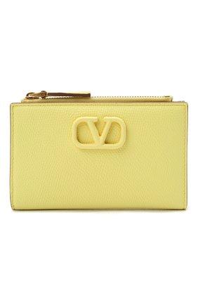 Женский кожаный футляр для кредитных карт VALENTINO желтого цвета, арт. VW0P0T46/RQR | Фото 1