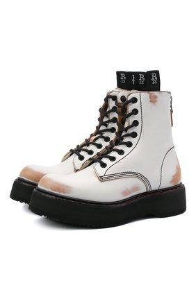 Женские кожаные ботинки R13 белого цвета, арт. R13S0015-004   Фото 1