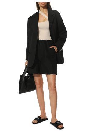 Женские текстильные шлепанцы ALEXANDER WANG черного цвета, арт. 30221S059   Фото 2