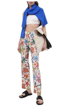 Женские шелковые брюки VERSACE белого цвета, арт. AUD05057/1F01193 | Фото 2