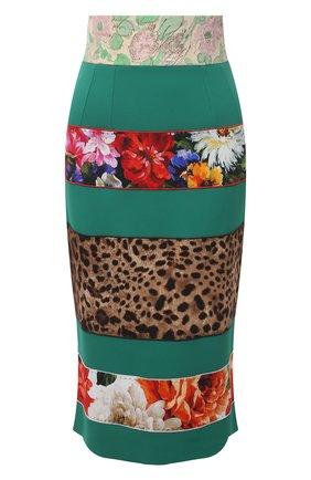 Женская юбка DOLCE & GABBANA зеленого цвета, арт. F4B2YT/FURDV | Фото 1