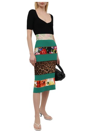 Женская юбка DOLCE & GABBANA зеленого цвета, арт. F4B2YT/FURDV | Фото 2