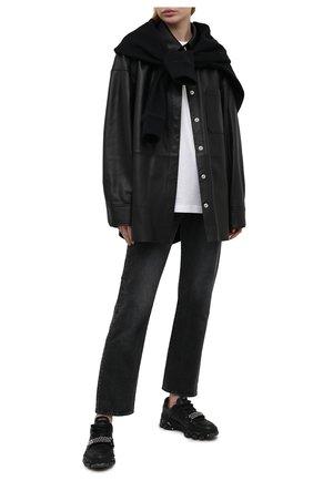 Женские кожаные кроссовки diamond  x strap flat JIMMY CHOO черного цвета, арт. DIAM0ND X STRAP/F/ADH | Фото 2