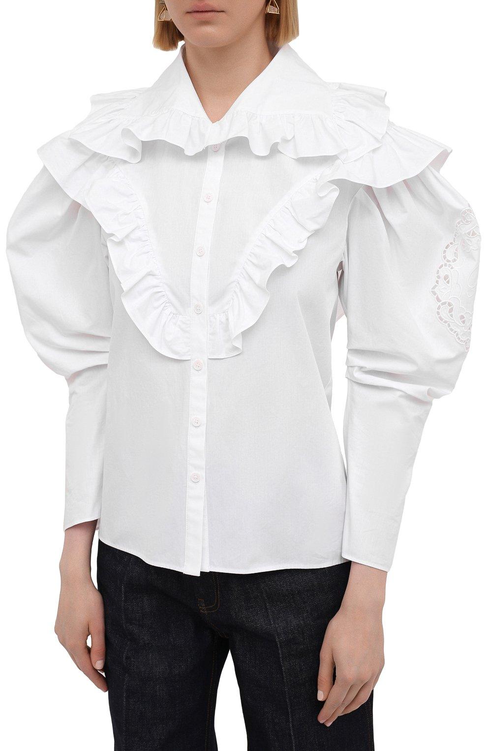 Женская хлопковая блузка PHILOSOPHY DI LORENZO SERAFINI белого цвета, арт. A0208/2119   Фото 3