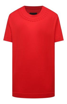 Женская хлопковая футболка GIVENCHY красного цвета, арт. BW707Z3Z4Z | Фото 1