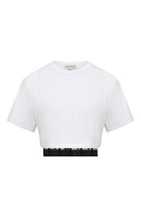 Женская хлопковая футболка ALEXANDER MCQUEEN белого цвета, арт. 653743/QLAA6 | Фото 1 (Материал подклада: Синтетический материал; Рукава: Короткие; Материал внешний: Хлопок; Длина (для топов): Укороченные; Женское Кросс-КТ: Футболка-одежда; Стили: Гламурный; Принт: Без принта)