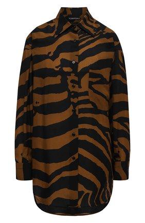 Женская рубашка TOM FORD коричневого цвета, арт. CA3191-FAP139 | Фото 1 (Длина (для топов): Удлиненные; Рукава: Длинные; Материал внешний: Лиоцелл; Женское Кросс-КТ: Рубашка-одежда; Принт: С принтом; Стили: Кэжуэл)