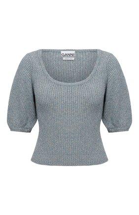 Женский пуловер из льна и хлопка GANNI голубого цвета, арт. K1517 | Фото 1