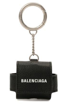 Кожаный чехол для airpods pro BALENCIAGA черного цвета, арт. 655679/1IZI3 | Фото 1
