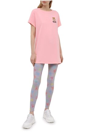 Женская хлопковая футболка MOSCHINO UNDERWEAR WOMAN розового цвета, арт. A1910/9021 | Фото 2