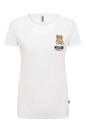 Женская хлопковая футболка MOSCHINO UNDERWEAR WOMAN белого цвета, арт. A1912/9021 | Фото 1
