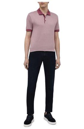 Мужское хлопковое поло BOSS розового цвета, арт. 50451060   Фото 2