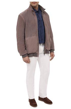Мужская льняная рубашка PAUL&SHARK синего цвета, арт. 21413462/F7E/48-50   Фото 2