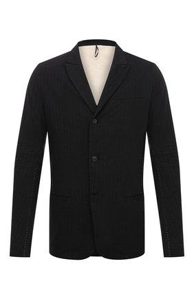 Мужской пиджак из хлопка и льна MASNADA черного цвета, арт. M2601R   Фото 1