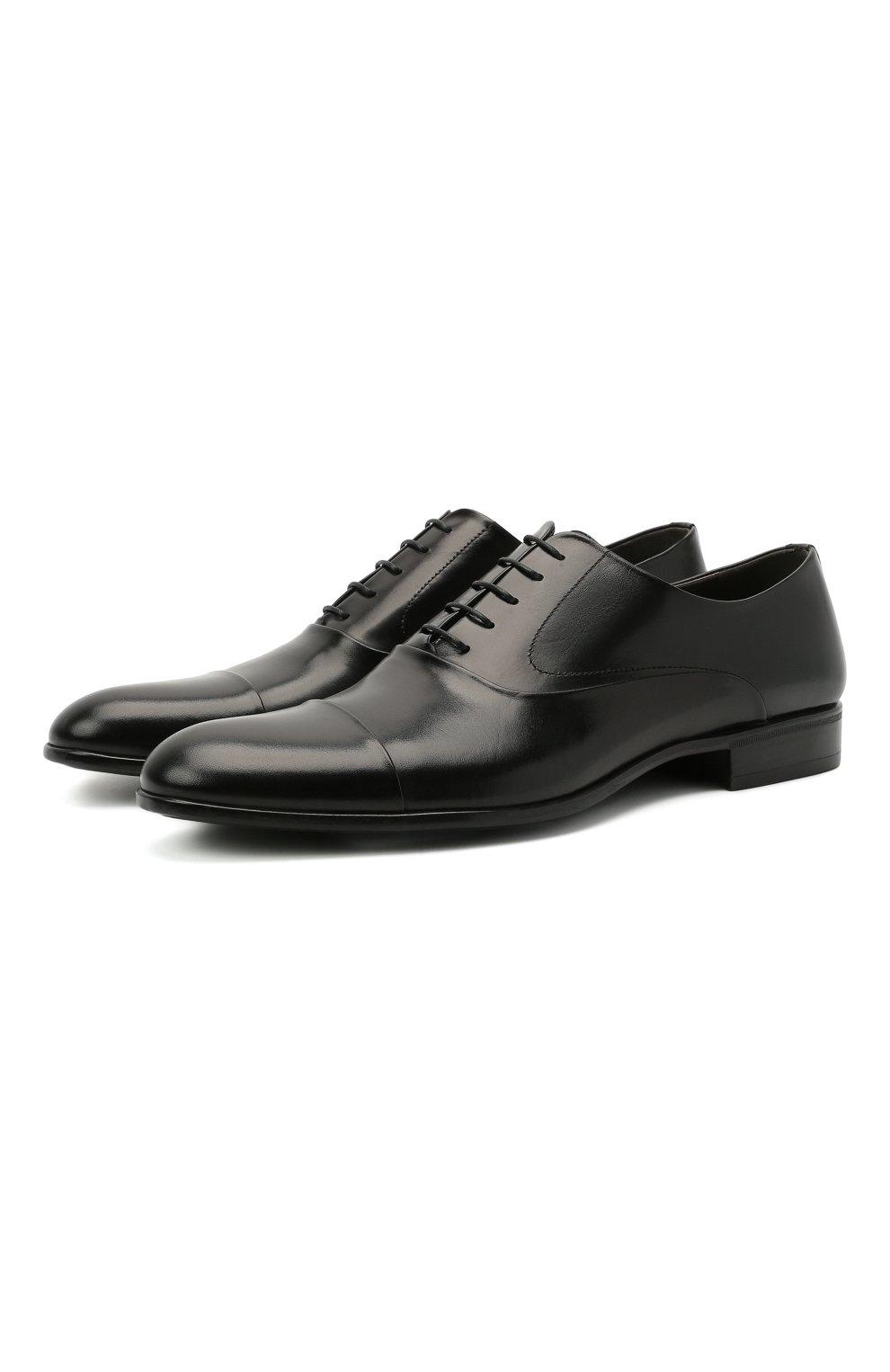 Мужские кожаные оксфорды MORESCHI черного цвета, арт. 39165/MA/VITELL0 | Фото 1 (Материал внутренний: Натуральная кожа; Стили: Классический)
