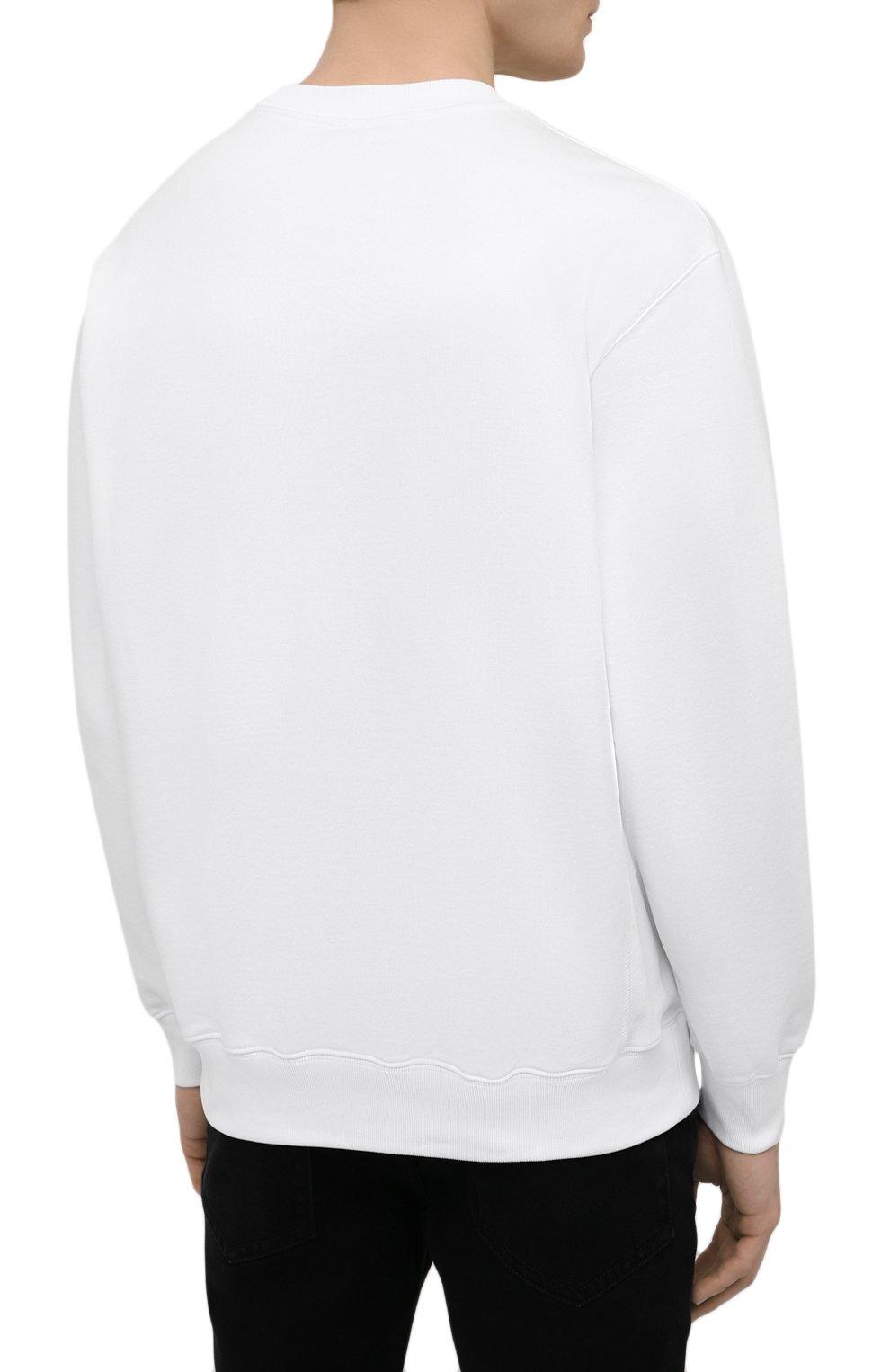 Мужской хлопковый свитшот OPENING CEREMONY белого цвета, арт. YMBA003S21FLE001 | Фото 4 (Рукава: Длинные; Длина (для топов): Стандартные; Стили: Гранж, Спорт-шик; Принт: С принтом; Мужское Кросс-КТ: свитшот-одежда; Материал внешний: Хлопок)