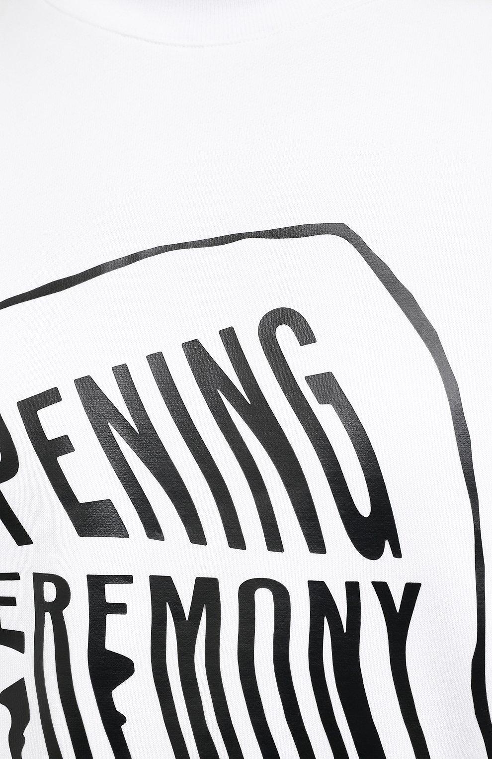 Мужской хлопковый свитшот OPENING CEREMONY белого цвета, арт. YMBA003S21FLE001 | Фото 5 (Рукава: Длинные; Длина (для топов): Стандартные; Стили: Гранж, Спорт-шик; Принт: С принтом; Мужское Кросс-КТ: свитшот-одежда; Материал внешний: Хлопок)