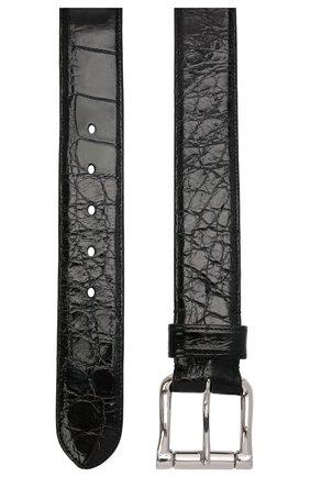 Мужской ремень из кожи аллигатора RALPH LAUREN черного цвета, арт. 404152862/AMIS | Фото 2