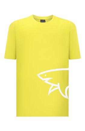 Мужская хлопковая футболка PAUL&SHARK салатового цвета, арт. 21411070/C00/3XL-6XL   Фото 1