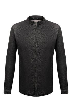 Мужская кожаная рубашка GIORGIO BRATO темно-серого цвета, арт. GU21S1002HL136 | Фото 1