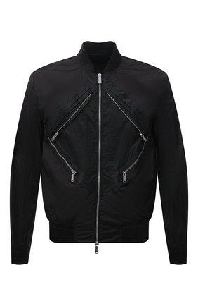 Мужской бомбер DSQUARED2 черного цвета, арт. S71AN0277/S53581 | Фото 1 (Рукава: Длинные; Материал внешний: Синтетический материал; Длина (верхняя одежда): Короткие; Кросс-КТ: Куртка; Принт: Без принта; Стили: Гранж)