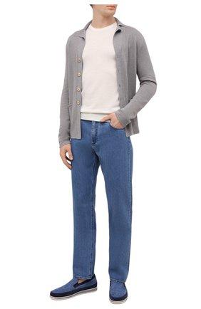 Мужской кардиган из шерсти и шелка FIORONI серого цвета, арт. MK22452G1 | Фото 2 (Длина (для топов): Стандартные; Материал внешний: Шерсть; Рукава: Длинные; Мужское Кросс-КТ: Кардиган-одежда; Стили: Кэжуэл)
