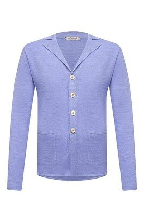Мужской кардиган из шерсти и шелка FIORONI синего цвета, арт. MK22452G1 | Фото 1 (Длина (для топов): Стандартные; Рукава: Длинные; Материал внешний: Шерсть; Мужское Кросс-КТ: Кардиган-одежда; Стили: Кэжуэл)