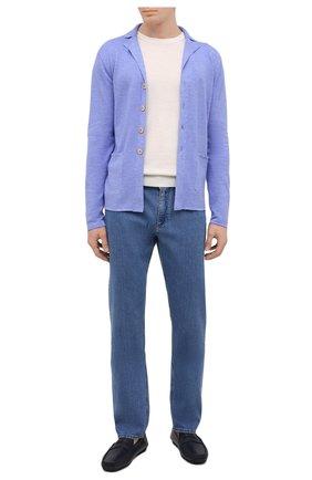 Мужской кардиган из шерсти и шелка FIORONI синего цвета, арт. MK22452G1 | Фото 2 (Длина (для топов): Стандартные; Рукава: Длинные; Материал внешний: Шерсть; Мужское Кросс-КТ: Кардиган-одежда; Стили: Кэжуэл)