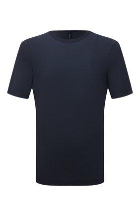 Мужская хлопковая футболка TRANSIT темно-синего цвета, арт. CFUTRN2371 | Фото 1 (Материал внешний: Хлопок; Принт: Без принта; Рукава: Короткие; Длина (для топов): Стандартные)