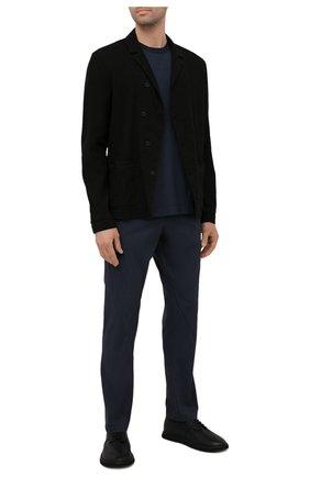 Мужская хлопковая футболка TRANSIT темно-синего цвета, арт. CFUTRN2371 | Фото 2 (Материал внешний: Хлопок; Принт: Без принта; Рукава: Короткие; Длина (для топов): Стандартные)