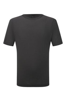 Мужская хлопковая футболка TRANSIT темно-серого цвета, арт. CFUTRN2371 | Фото 1 (Материал внешний: Хлопок; Принт: Без принта; Рукава: Короткие; Длина (для топов): Стандартные)