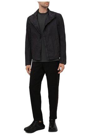 Мужская хлопковая футболка TRANSIT темно-серого цвета, арт. CFUTRN2371 | Фото 2 (Материал внешний: Хлопок; Принт: Без принта; Рукава: Короткие; Длина (для топов): Стандартные)