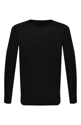 Мужская лонгслив TRANSIT черного цвета, арт. CFUTRN4390 | Фото 1 (Материал внешний: Растительное волокно; Принт: Без принта; Рукава: Длинные; Длина (для топов): Стандартные)