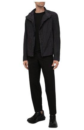 Мужская лонгслив TRANSIT черного цвета, арт. CFUTRN4390 | Фото 2 (Материал внешний: Растительное волокно; Принт: Без принта; Рукава: Длинные; Длина (для топов): Стандартные)