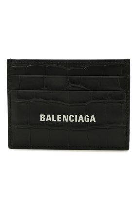 Мужской кожаный футляр для кредитных карт BALENCIAGA черного цвета, арт. 594309/1R0P3 | Фото 1