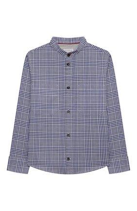 Детская хлопковая рубашка BRUNELLO CUCINELLI темно-синего цвета, арт. BW642C330B | Фото 1
