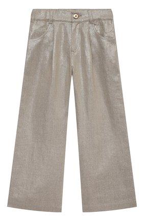 Детские льняные брюки BRUNELLO CUCINELLI золотого цвета, арт. BH169P022C | Фото 1