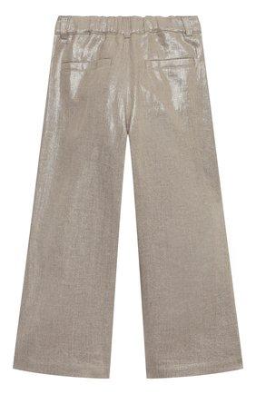 Детские льняные брюки BRUNELLO CUCINELLI золотого цвета, арт. BH169P022C | Фото 2