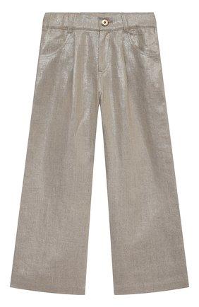 Детские льняные брюки BRUNELLO CUCINELLI золотого цвета, арт. BH169P022B | Фото 1