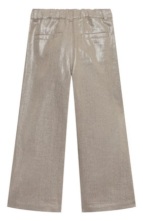 Детские льняные брюки BRUNELLO CUCINELLI золотого цвета, арт. BH169P022A | Фото 2