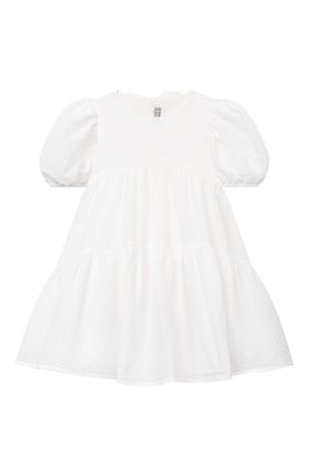 Детское хлопковое платье IL GUFO белого цвета, арт. P21VM607C0053/2A-4A   Фото 1 (Материал внешний: Хлопок; Случай: Повседневный; Материал подклада: Хлопок; Девочки Кросс-КТ: Платье-одежда; Рукава: Короткие; Ростовка одежда: 18 мес   86 см, 2 года   92 см, 3 года   98 см)
