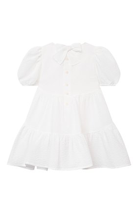 Детское хлопковое платье IL GUFO белого цвета, арт. P21VM607C0053/2A-4A   Фото 2 (Материал внешний: Хлопок; Случай: Повседневный; Материал подклада: Хлопок; Девочки Кросс-КТ: Платье-одежда; Рукава: Короткие; Ростовка одежда: 18 мес   86 см, 2 года   92 см, 3 года   98 см)