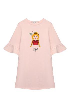 Детское хлопковое платье SONIA RYKIEL ENFANT светло-розового цвета, арт. 21S1DR04 | Фото 1