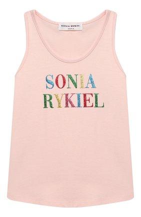 Детский хлопковый топ SONIA RYKIEL ENFANT светло-розового цвета, арт. 21S1TS23   Фото 1