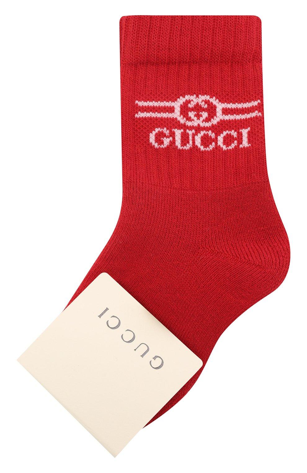 Детские хлопковые носки GUCCI красного цвета, арт. 627667/3K659 | Фото 1 (Материал: Текстиль, Хлопок)