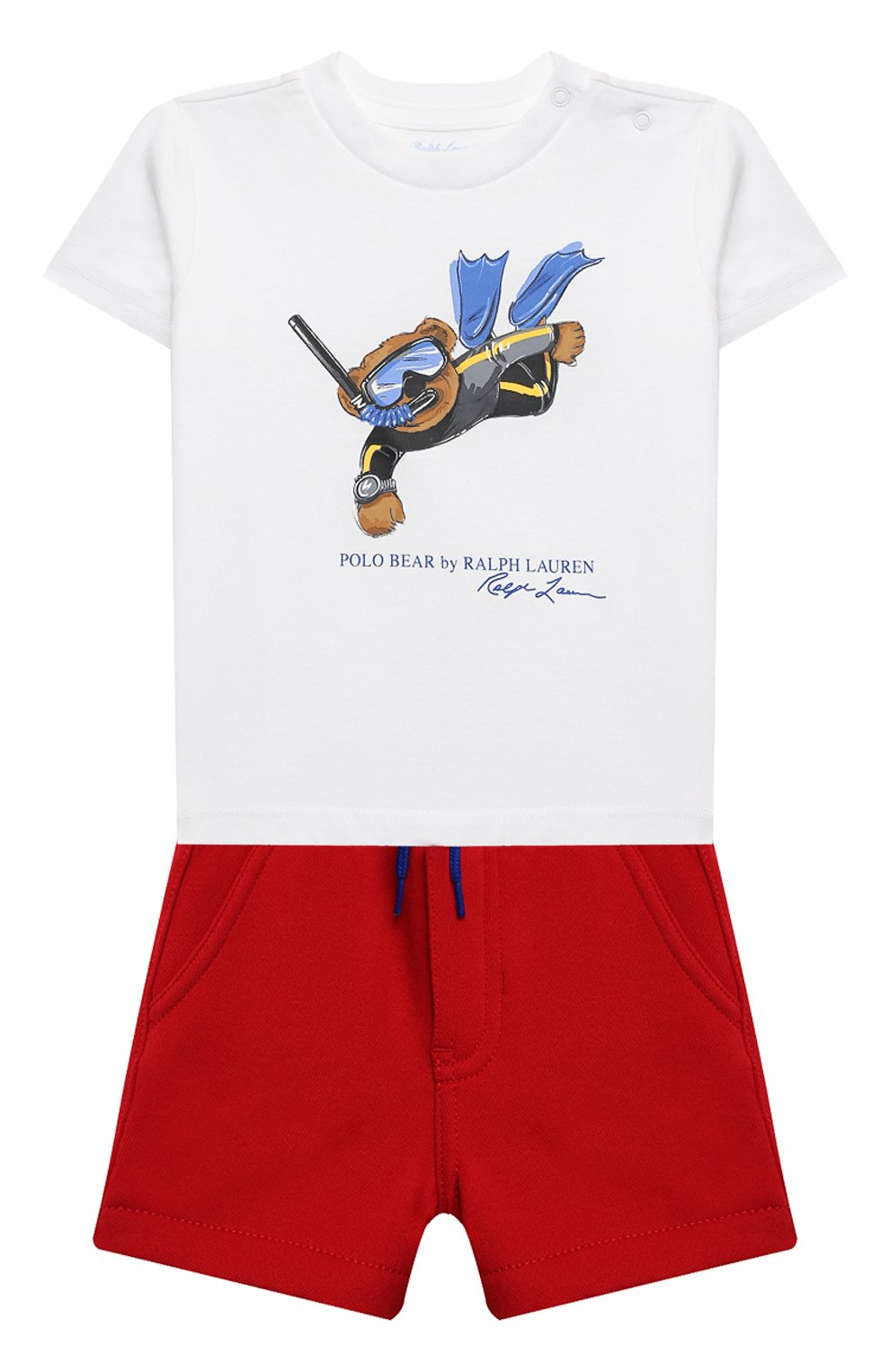 Детский комплект из футболки и шорт POLO RALPH LAUREN красного цвета, арт. 320836013   Фото 1